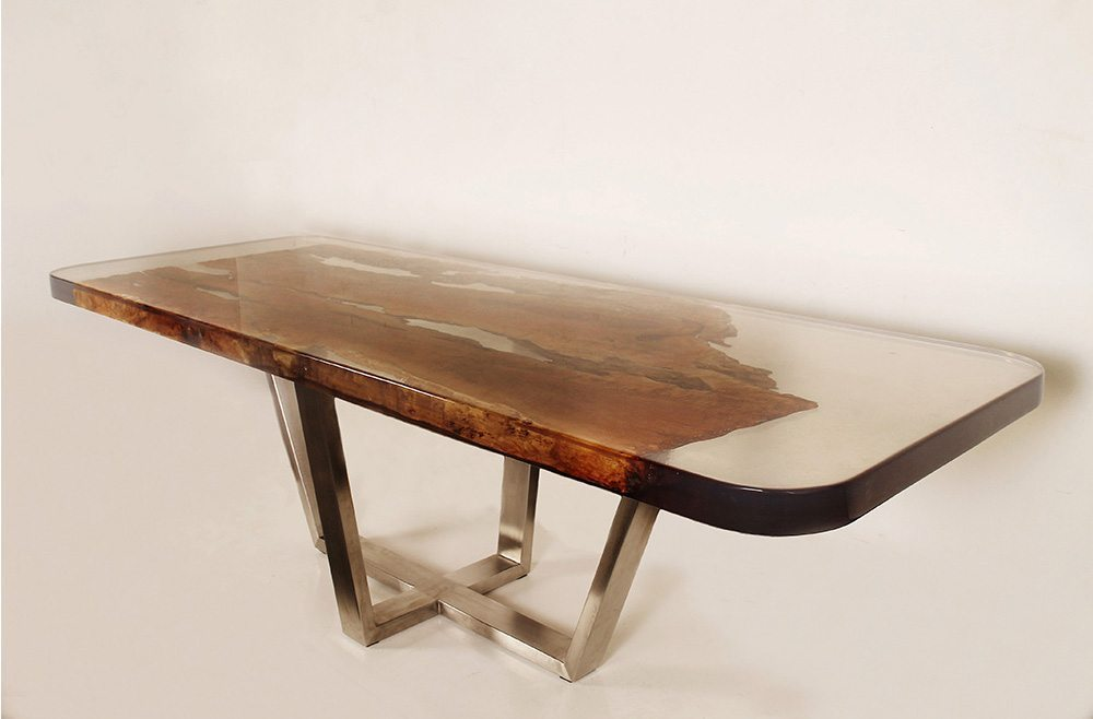 Resin wood dining table on metal support expressions metis for Dining table support